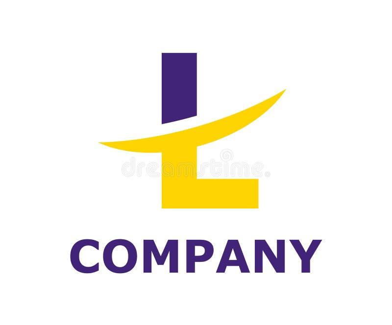Slice alphabet logo l. Purple and yellow color logo symbol slice type letter l by blade initial business logo design idea illustration shape for modern premium stock illustration