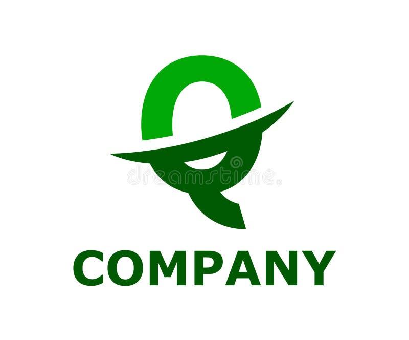 Slice alphabet logo q. Light green and green color logo symbol slice type letter q by blade initial business logo design idea illustration shape for modern stock illustration