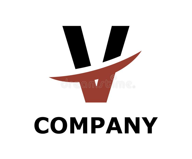 Slice alphabet logo v. Black and brown color logo symbol slice type letter v by blade initial business logo design idea illustration shape for modern premium stock illustration