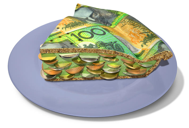 Slice Of Australian Dollar Money Pie. Regular baked pie with a crust made out of australian dollar bank notes filled with a jam filling with coins on an isolated royalty free stock images