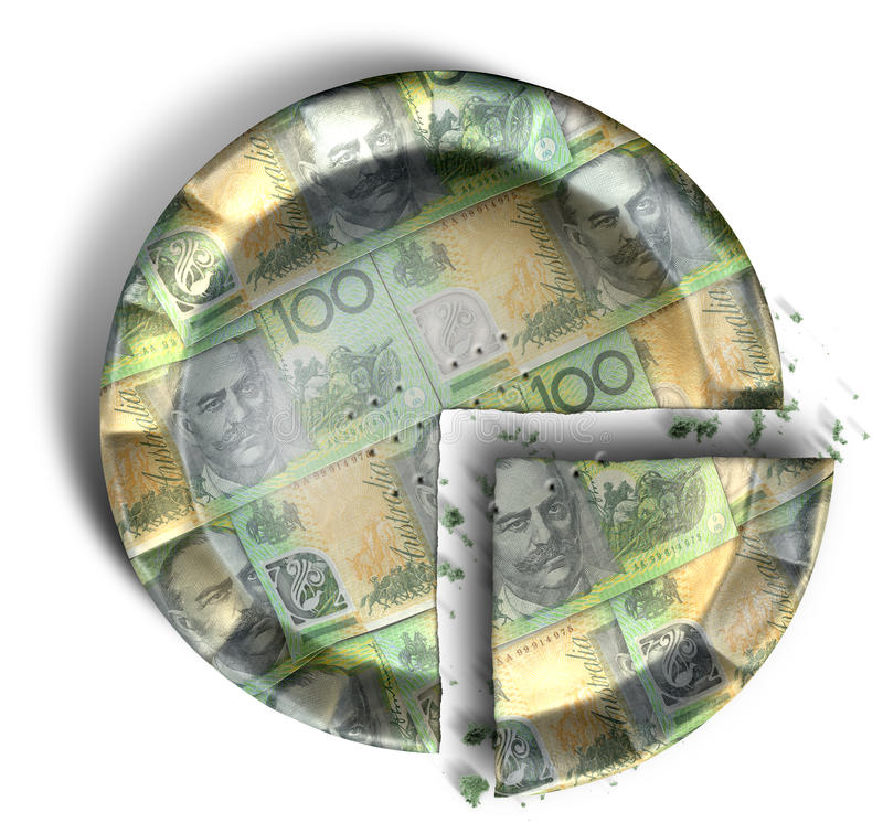 Slice Of Australian Dollar Money Pie. Sliced section of a regular baked pie with crimped edges made out of Australian Dollar bank notes on an isolated background royalty free stock images