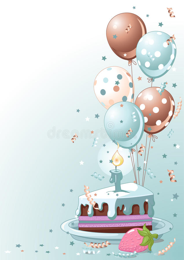 Slice Of Birthday Cake With Balloons stock illustration