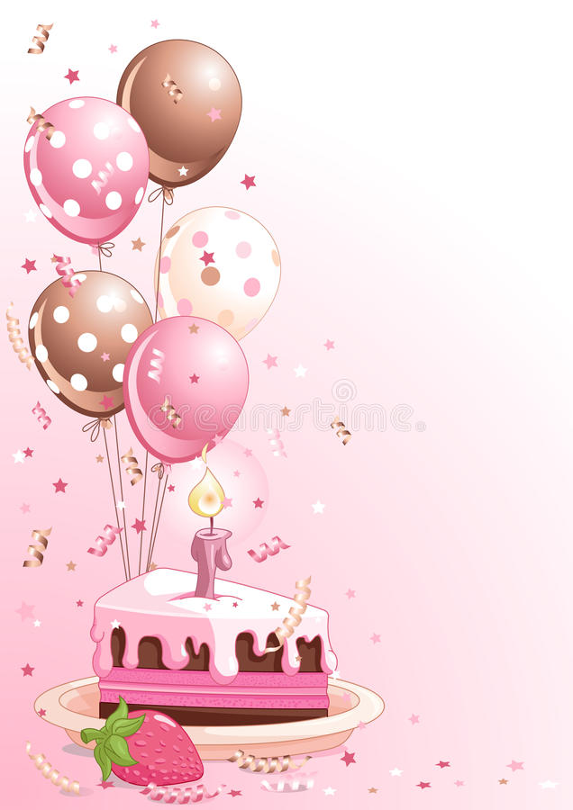 Slice Of Birthday Cake With Balloons vector illustration