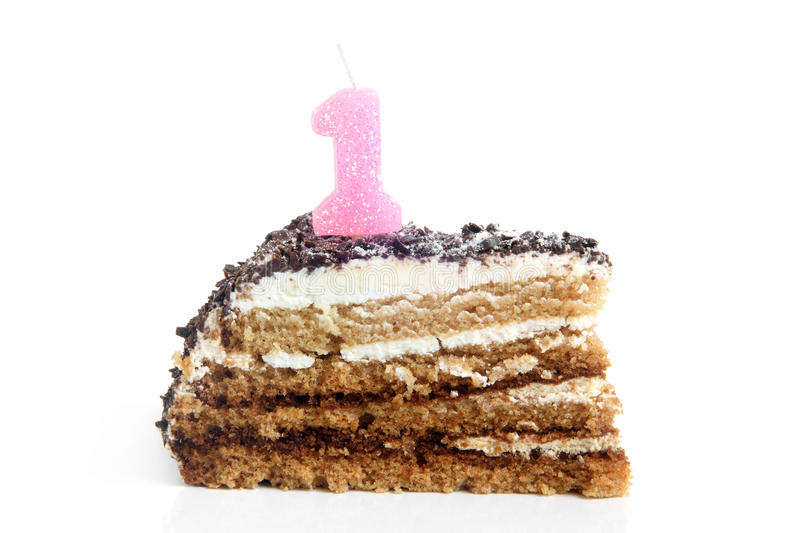 Slice Of Birthday Cake With Number One Candle Stock Image Image Of