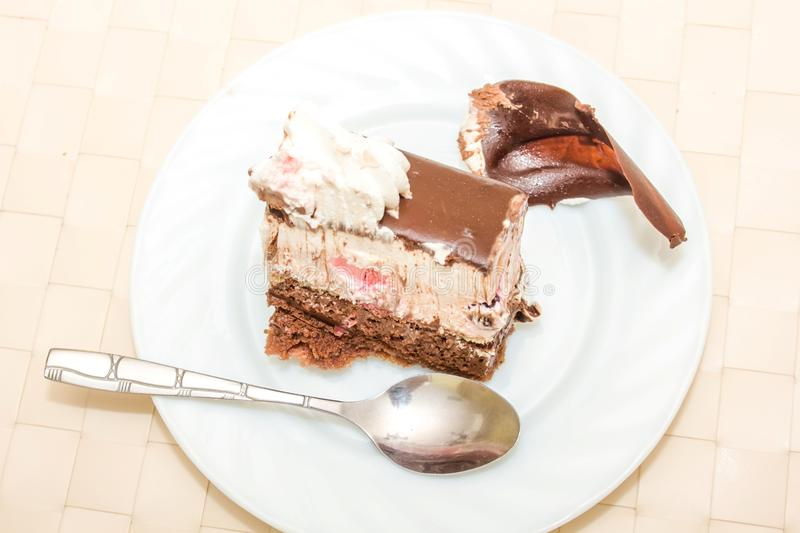 Download A Slice Of Birthday Cake On A Plate Stock Photo - Image of glasses & A Slice Of Birthday Cake On A Plate Stock Photo - Image of glasses ...