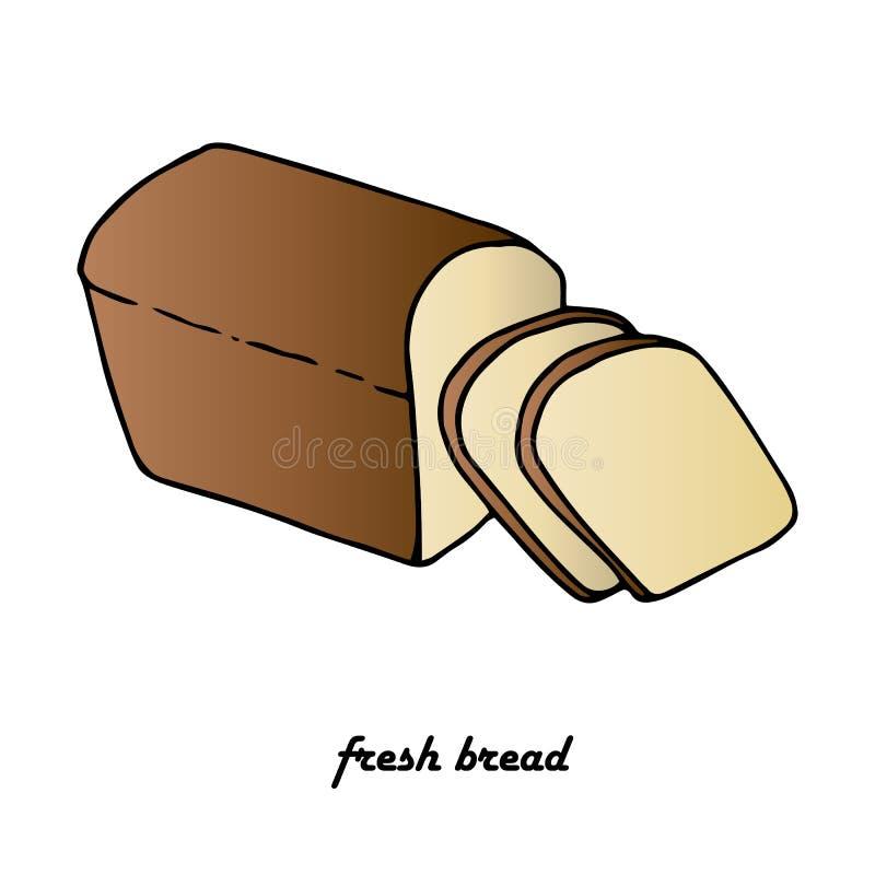Slice black bread, Fresh bread, flat design element vector illustration