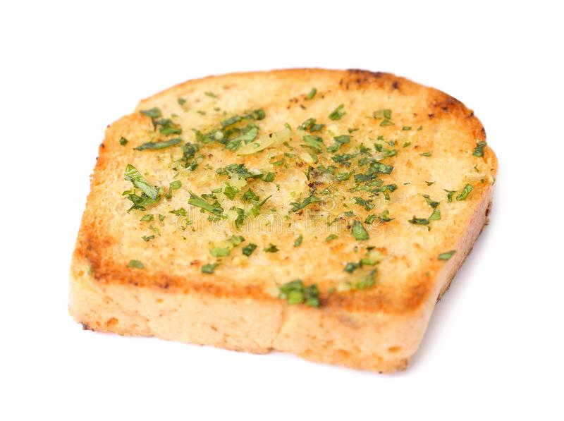 Slice of bread with garlic and herbs royalty free stock images