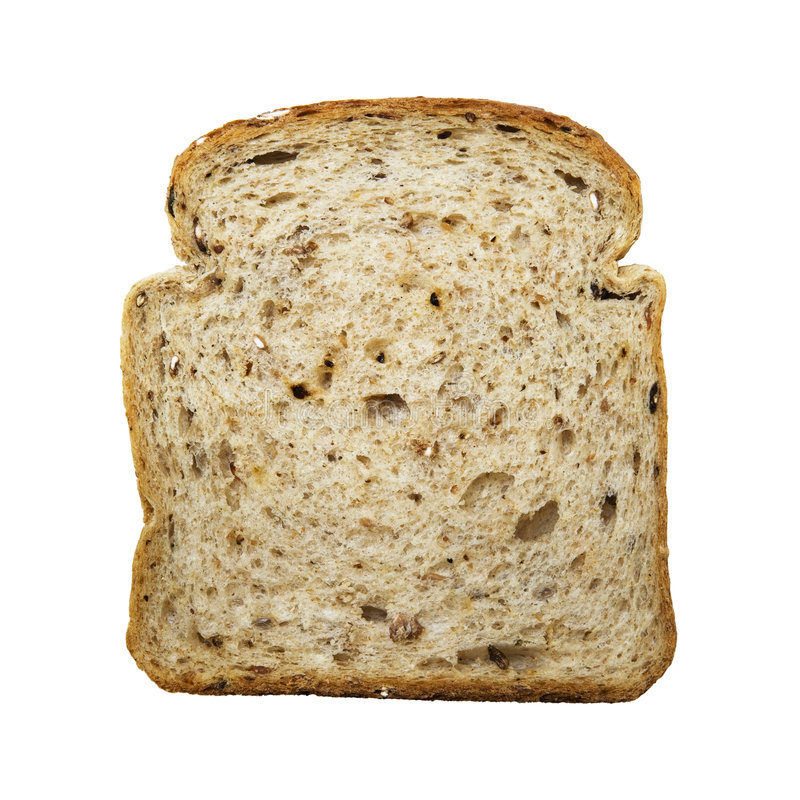 Slice of bread isolated on white stock photos