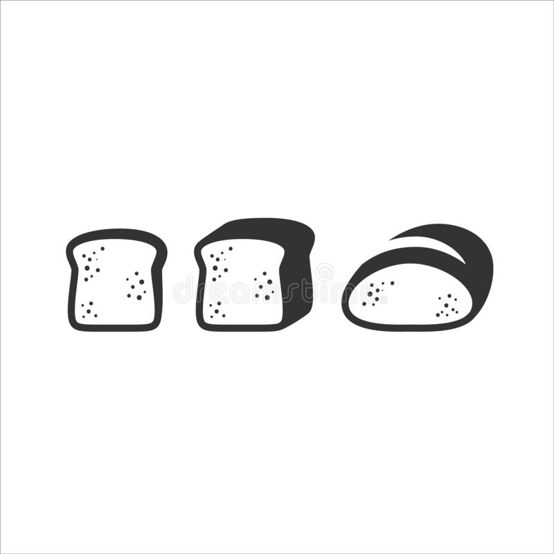 Slice of bread and sliced bread loaf simple vector icon set. vector illustration