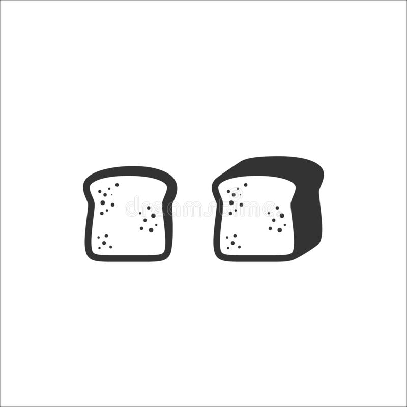Slice of bread and sliced bread loaf simple vector symbols royalty free illustration