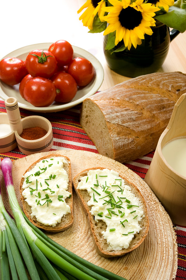 Download Slice Of Bread Spread With Sheep Cheese Stock Photo - Image: 5401052