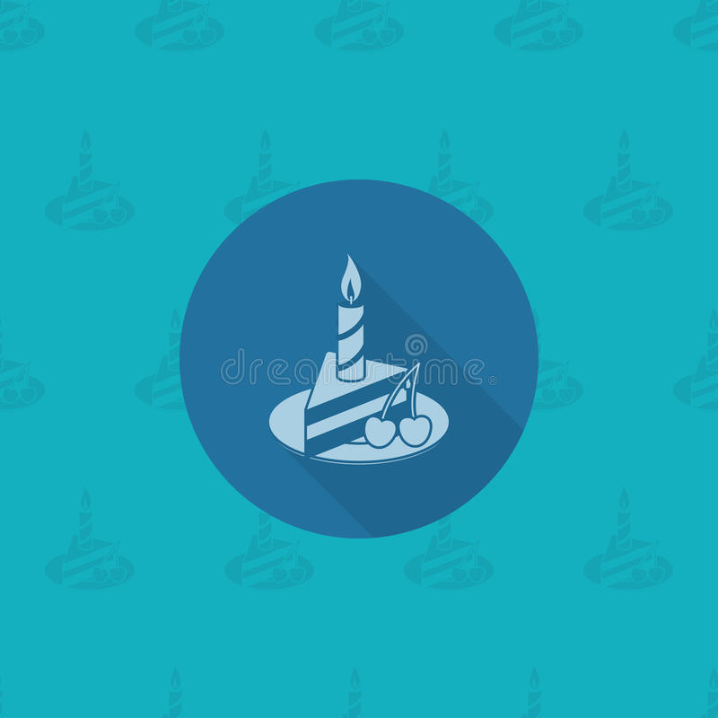 Slice of Cake with Candle stock illustration