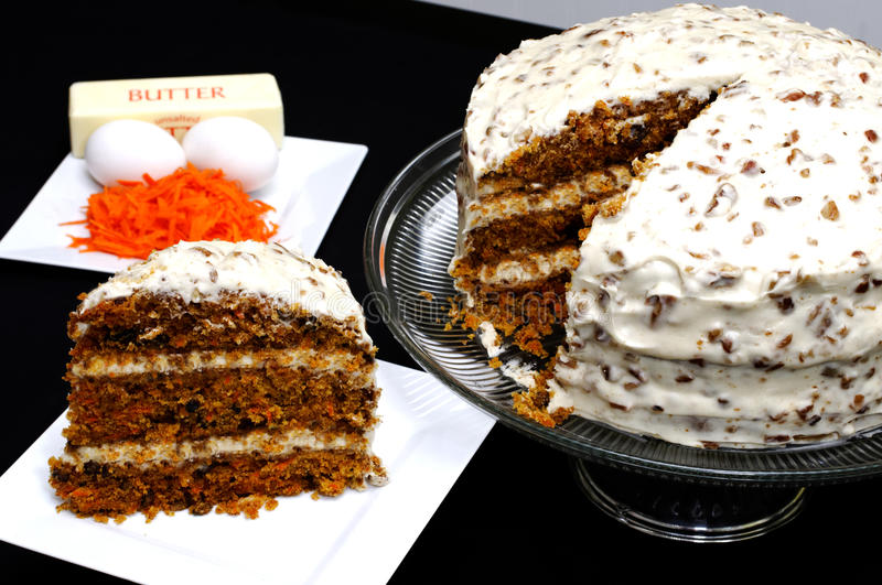 Download Slice Of Carrot Cake With Ingredients Royalty Free Stock Images - Image: 17201159