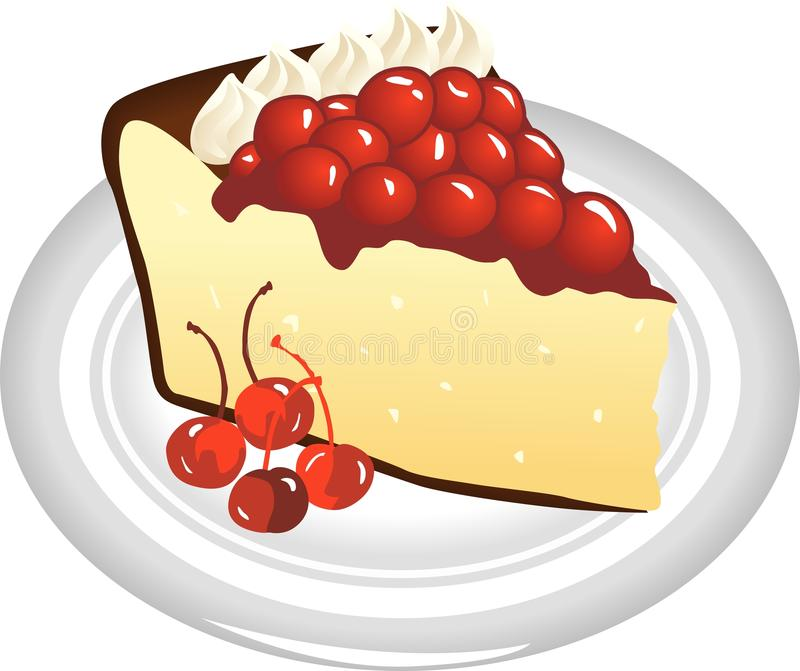 Slice of Cheesecake. Scalable vectorial image representing a delicious slice of cheesecake, isolated on white vector illustration