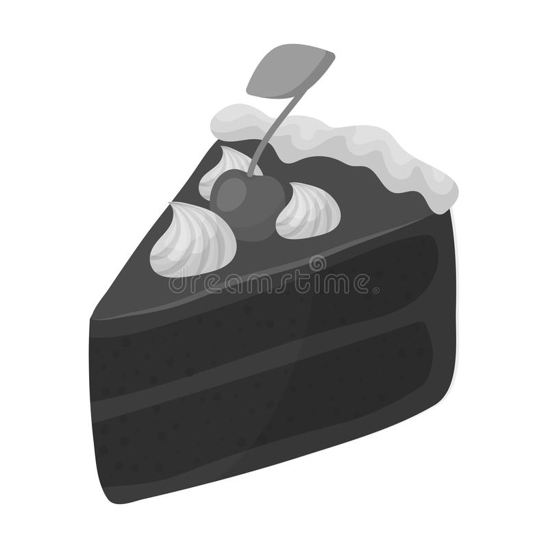 Slice of chocolate cake icon in monochrome style isolated on white background. Chocolate desserts symbol stock vector. Slice of chocolate cake icon in monochrome vector illustration