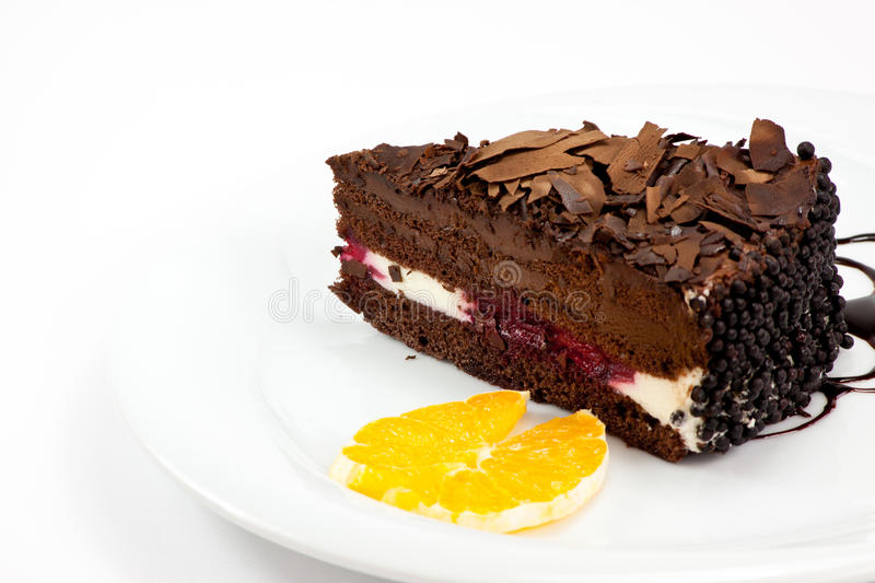 A slice of chocolate cherry cake stock photos
