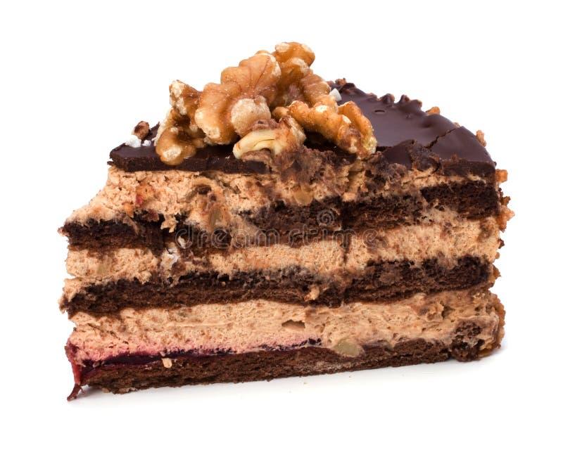 Slice of chocolate cream cake stock image