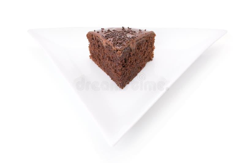 Slice of chocolate fudge cake stock image