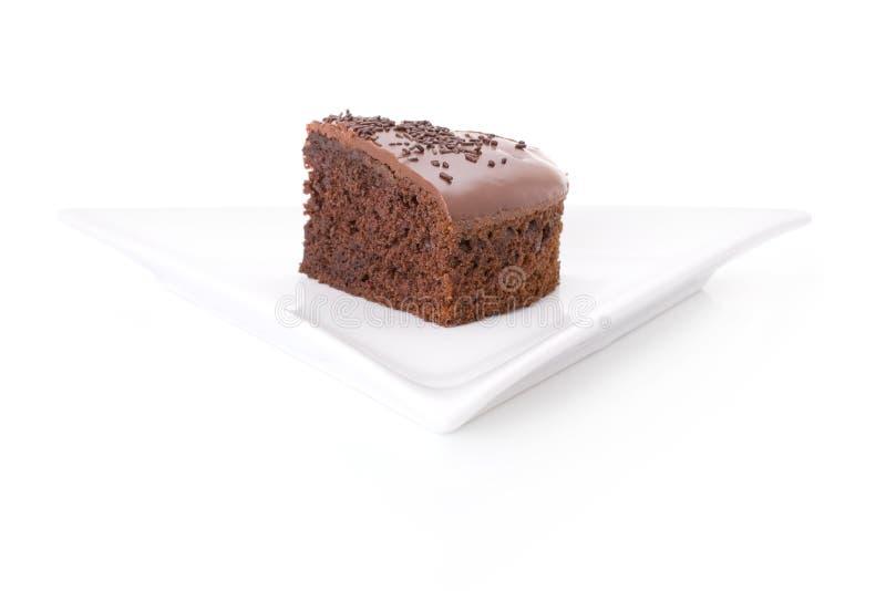 Slice of chocolate fudge cake royalty free stock photo