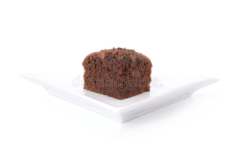 Slice of chocolate fudge cake royalty free stock photos