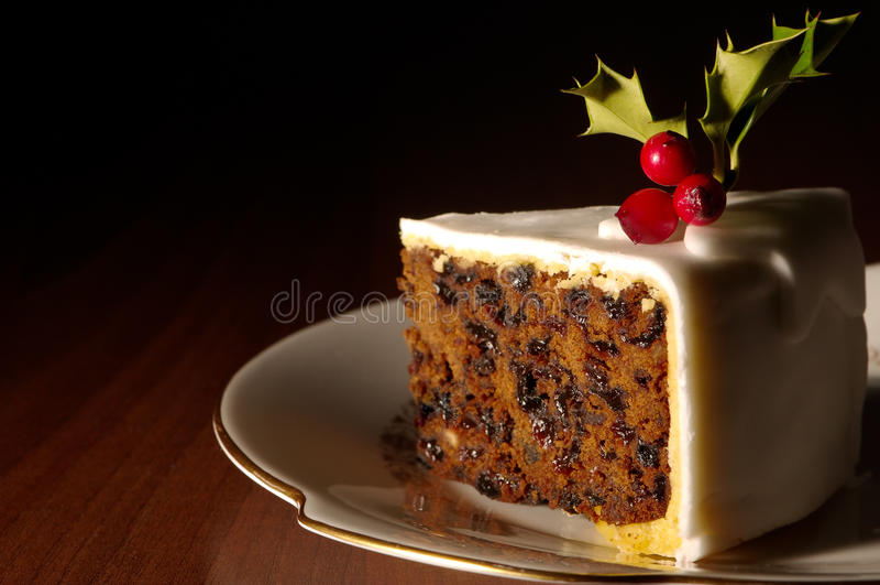 Slice Of Christmas Cake royalty free stock image