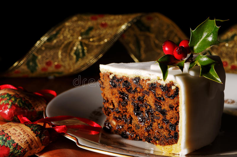 Slice Of Christmas Cake royalty free stock images