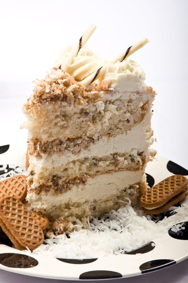 Download Slice of coconut cake stock photo. Image of gold, holiday - 16516674