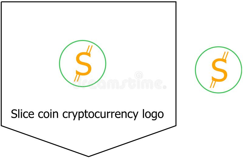 Slice coin cryptocurrency logo royalty free stock photos