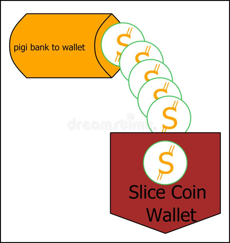 Slice coin cryptocurrency logo with wallet concept stock photos