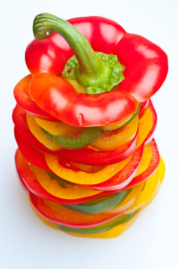 Slice color pepper royalty free stock photography