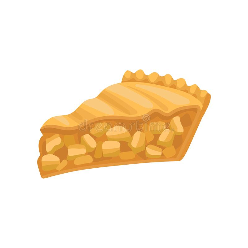 Slice of delicious charlotte pie. Freshly baked apple cake. Tasty bakery product. Flat vector for cafe menu or poster of. Slice of delicious charlotte pie royalty free illustration