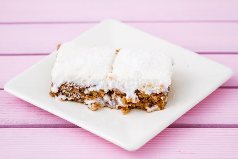 Slice of Delicious White Cream Cake on White Plate stock photo