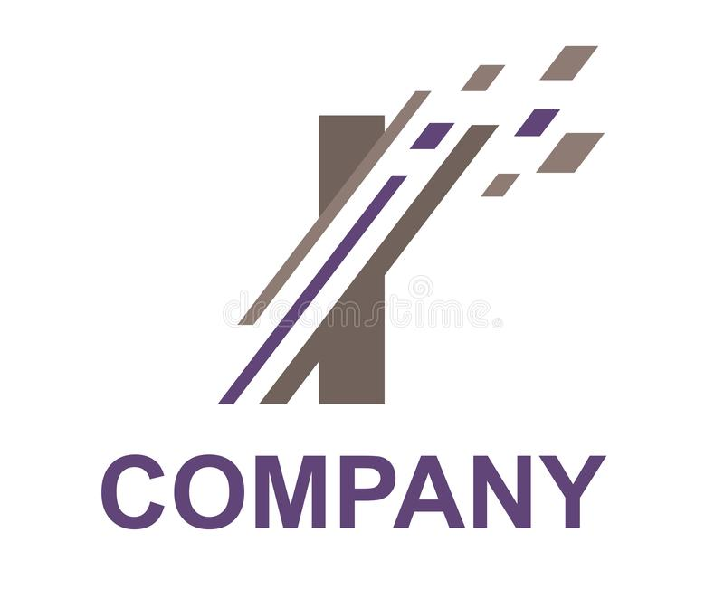 Slice digital logo i. Purple and grey color logo symbol digital slice type letter i like pixel image initial business logo design idea illustration shape for stock illustration