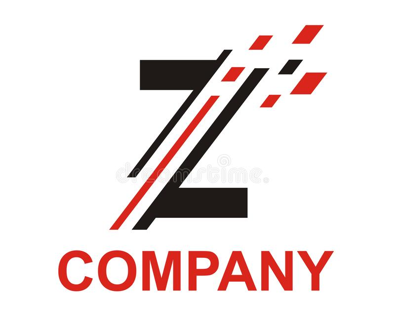 Slice digital logo z. Black and red color logo symbol digital slice type letter z like pixel image initial business logo design idea illustration shape for stock illustration
