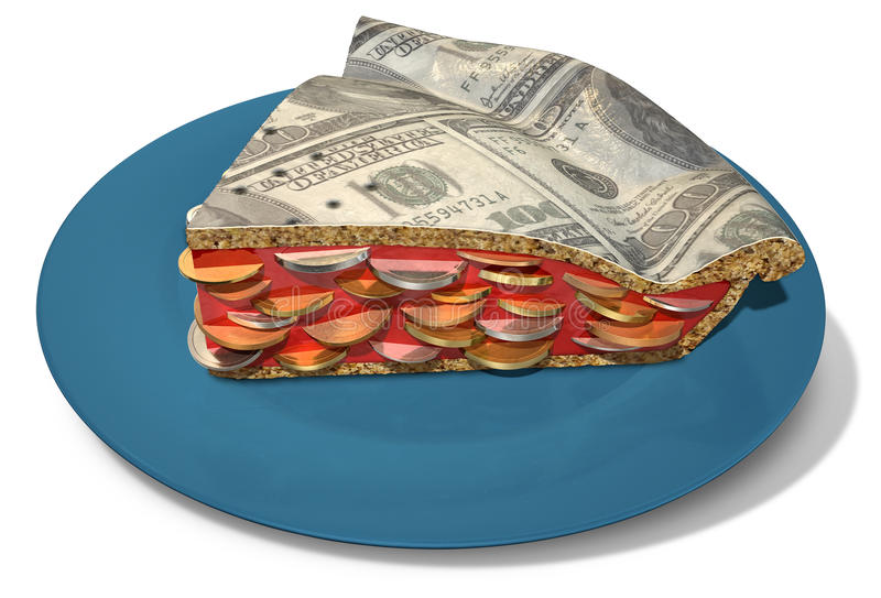 Slice Of Dollar Money Pie. Regular baked pie with a crust made out of us dollar bank notes filled with a jam filling with coins on an background royalty free stock images