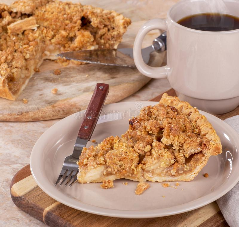 Slice of Dutch Apple Pie on a Plate royalty free stock image