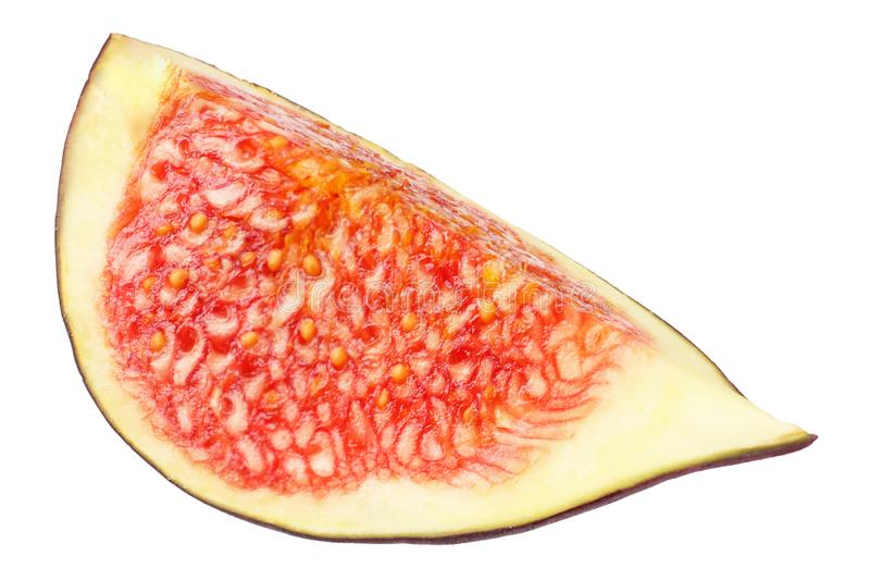 Slice of fig isolated on white. Clipping Path stock images