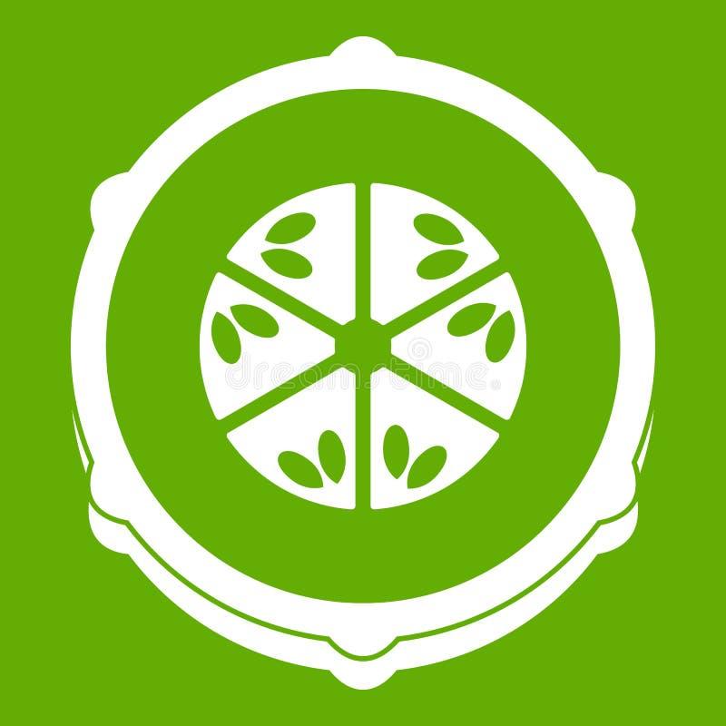 Slice of fresh cucumber icon green stock illustration