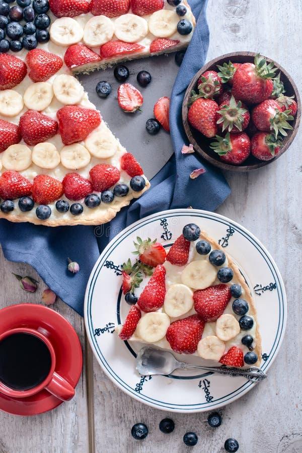 Slice of fruit pie stock photos