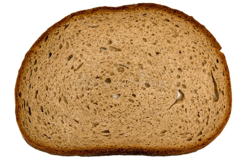 Slice of german healty brown bread. On white background stock photo