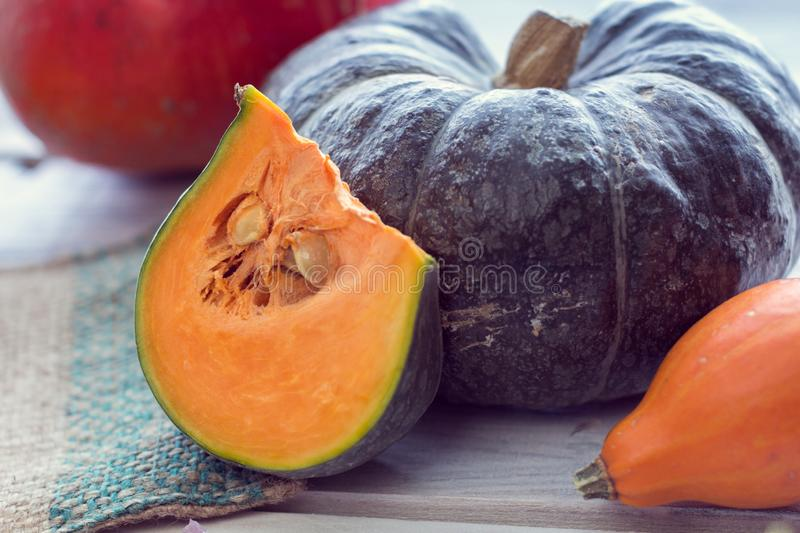 Slice of green pumpkin and other colorful pumpkins royalty free stock images