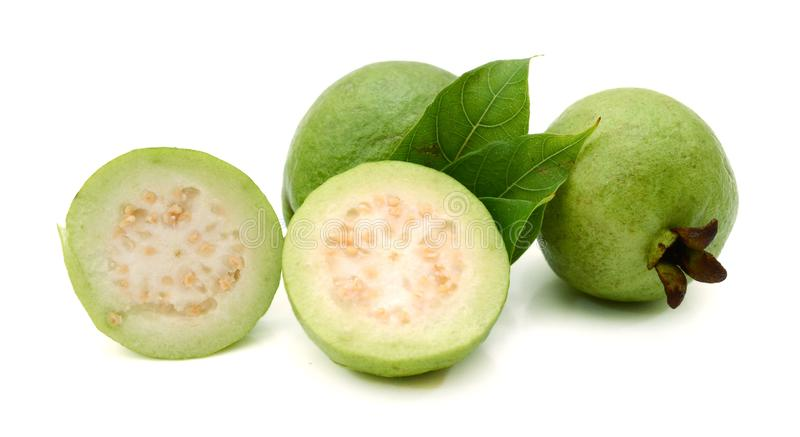 Slice of Guava fruit isolated over a white background. Fresh green Guava fruit on white background stock images