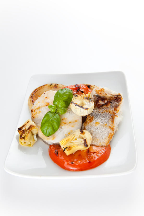 Slice of hake grilled royalty free stock photos