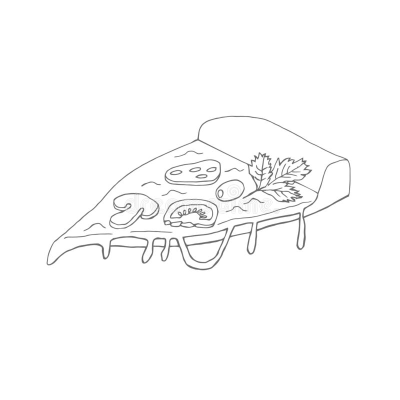A slice of hand-drawn appetizing pizza. Doodle vector illustration of pizza for design of cafe, restaurant, menu. Wrapping ideas, advertising, etc. Vector stock illustration
