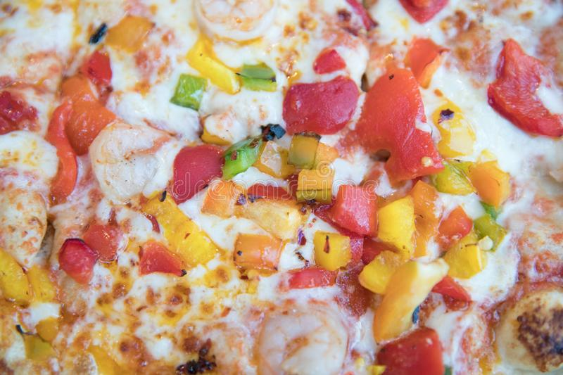 Slice of hot pizza stock photography