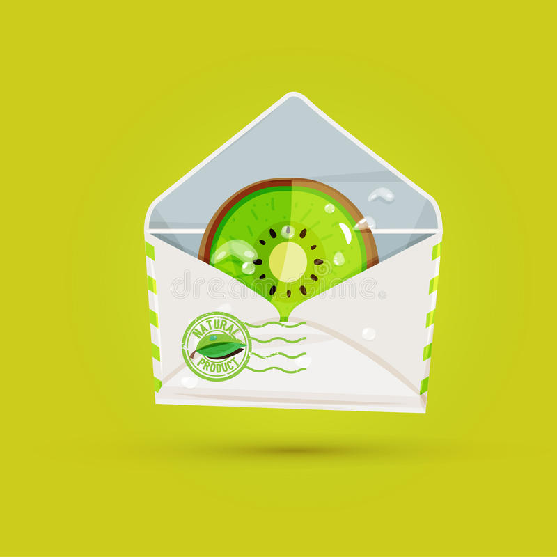 Slice of kiwi fruit in mail envelope. send from nature concept - royalty free illustration