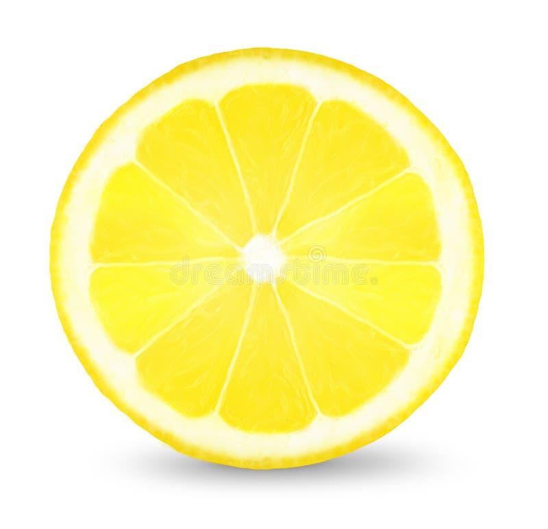 Slice of lemon. Juicy slice of lemon on a white background stock images