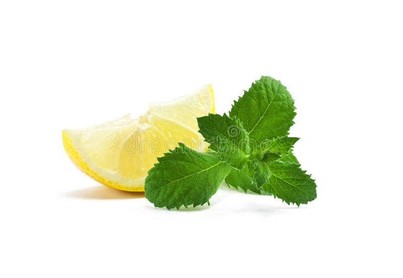 A slice of lemon and mint royalty free stock photo