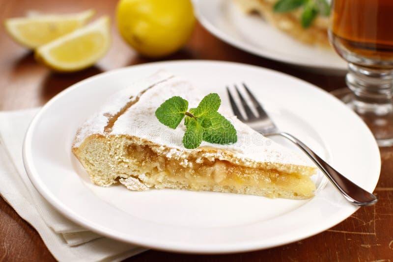 Slice of lemon pie stock photos