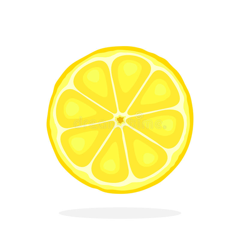 Slice of lemon. Vector illustration in flat style. Slice of lemon. Healthy vegetarian food. Citrus fruits. Decoration for greeting cards, prints for clothes stock illustration